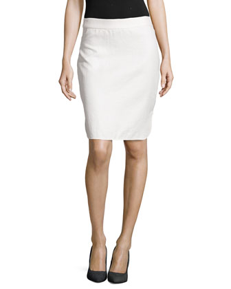 Raffia Pencil Skirt, Blanc