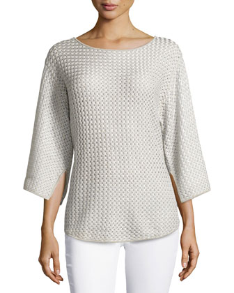 Long-Sleeve Stretch-Knit Sweater, Pearl