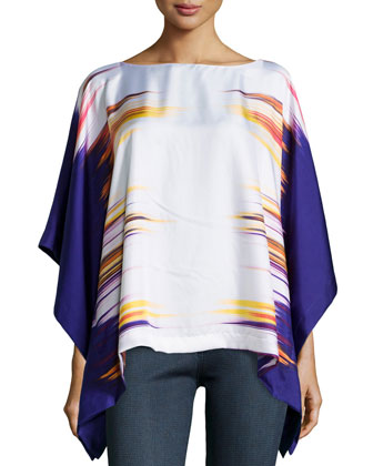 Printed Prism Silk Caftan Top, Ink