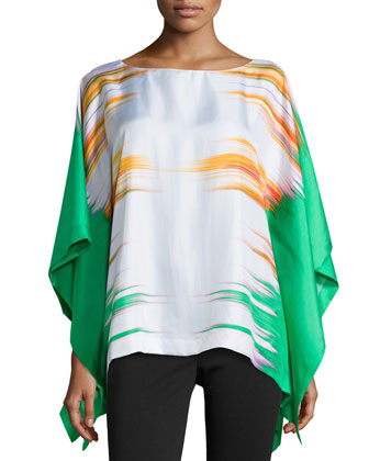 Printed Prism Silk Caftan Top, Pale Jade