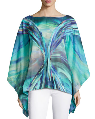 Printed Cotton Voile Top, Blue/Multi