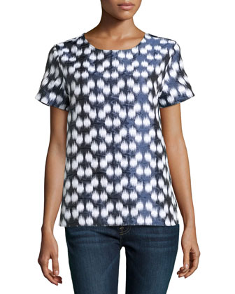 Ikat-Jacquard Woven Blouse, Night