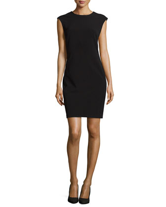 Sleeveless Woven Bistretch Dress, Black