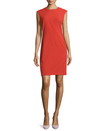 Bias-Cut Woven Sheath Dress, Tomato Red