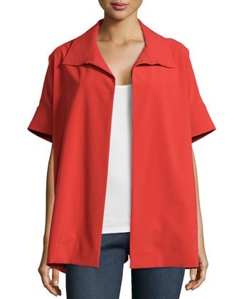 Bistretch Short-Sleeve Jacket, Tomato Red