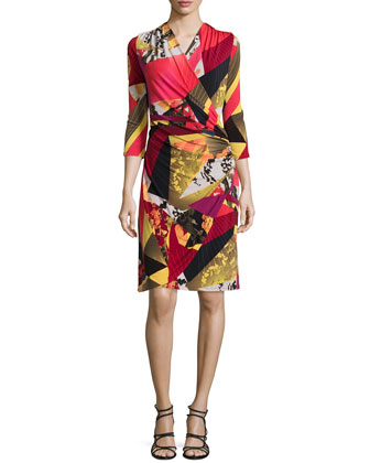 Printed Wrap 3/4-Sleeve Dress, Multi