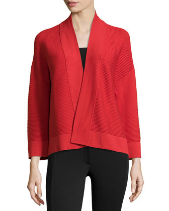 Rib-Knit Open-Front Sweater, Tomato Red