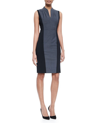 Amabel Sleeveless Sheath Dress W/ Jersey Sides