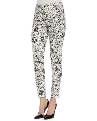 Tropical-Print Wisdom Ankle Jeans
