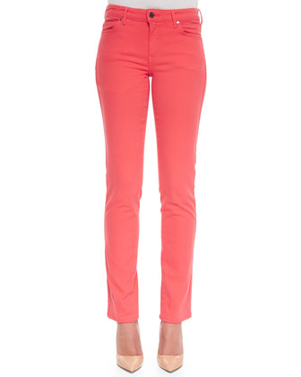Faith Straight-Leg Denim Jeans, Coral