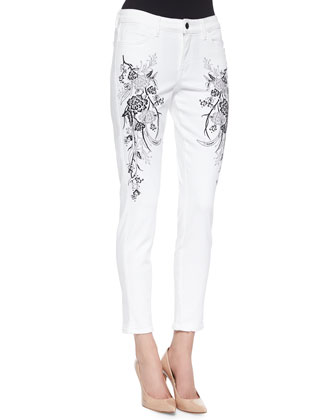 Wisdom Skinny Ankle Jeans W/ Floral Embroidery