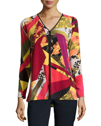 V-Neck Long-Sleeve Printed Jersey Top