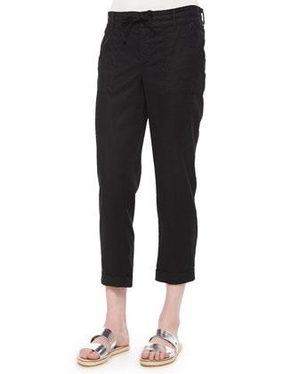 Linen-Blend Cropped Pants