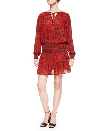 Sunari Graphic-Print Smocked Dress, Red