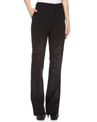 Scroll-Print Flare Pants, Black/Charcoal
