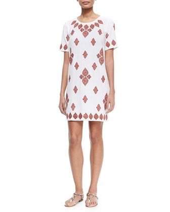 Embroidered T-Shirt Dress, White/Red