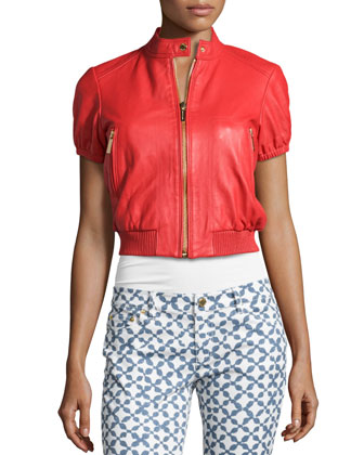 Short-Sleeve Leather Coat & Musenyi Printed Skinny Cropped Jeans