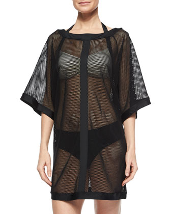 City Slick Sheer Mesh Coverup, Two-Tone Halter Swim Top & Classic Hipster ...