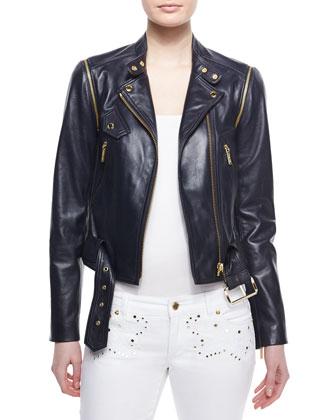 Belted Moto Leather Jacket
