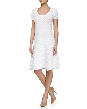 Ivanna Short-Sleeve Fit-and-Flare Dress, White