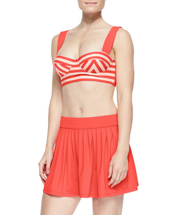georgica striped underwire swim top, bottom & pleated swim skirt