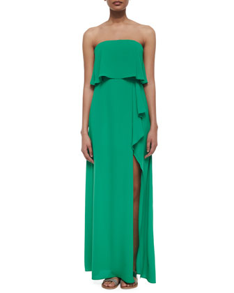 Strapless Ruffled Popover Gown