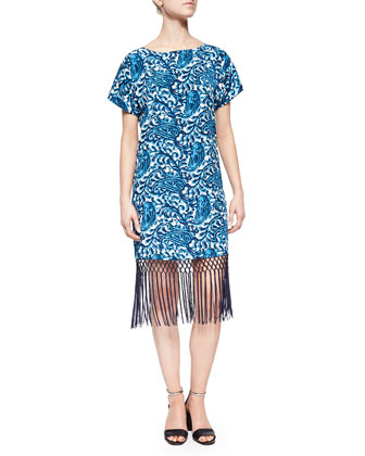 Kathumar Paisley-Print Dress, Blue/White