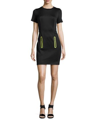 Zip-Pocket Jersey Scuba Dress