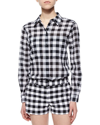 Waterfront Gingham Button-Front Top