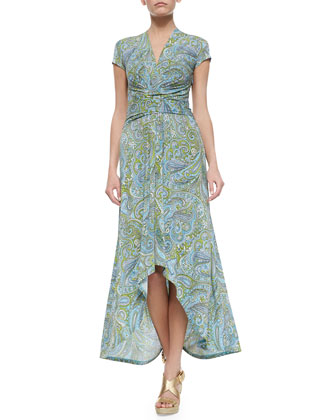 Ashbury Paisley Wrap Dress, Blue Multi