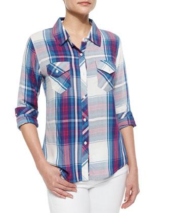 Carmen Plaid Shirt, Blue/Magenta