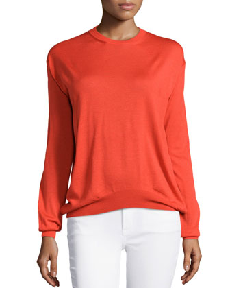 Long-Sleeve Crewneck Sweater, Red
