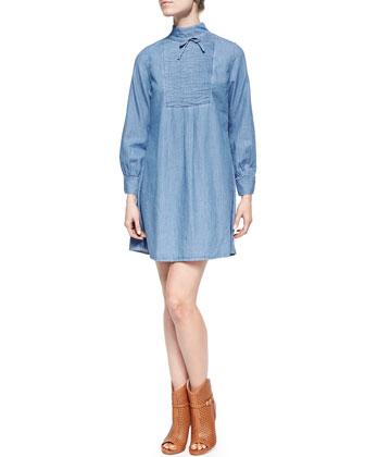 Julie Pintucked Chambray Shirtdress