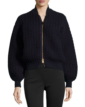 Cable-Knit Bomber-Style Jacket