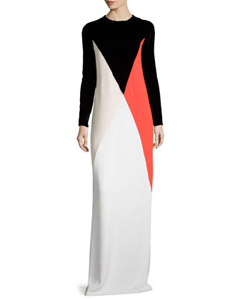 Long-Sleeve Colorblock Gown, Black