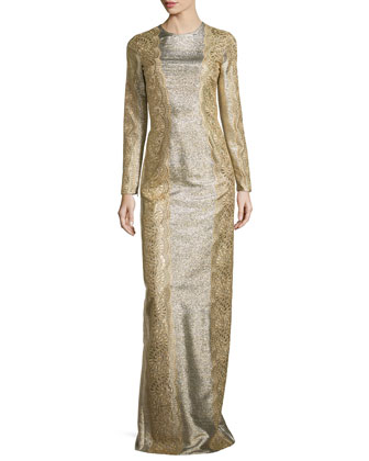 Long-Sleeve Lace-Trim Metallic Gown, Gold