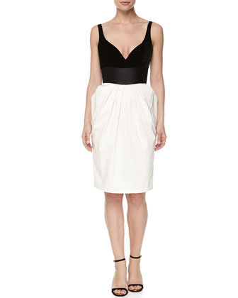 Sleeveless Pleated Combo Dress, Black/White