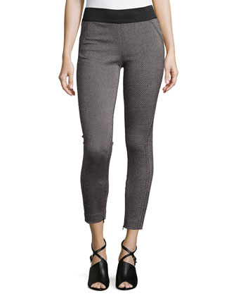Stretch-Knit Zipper-Cuff Leggings