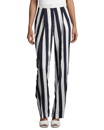Striped Silk Pants, Cream/Navy