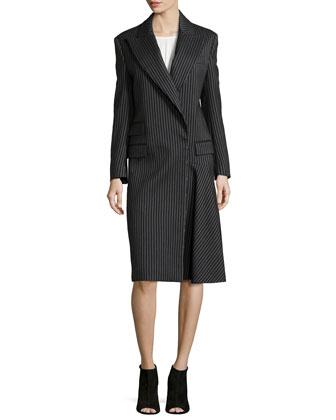 Striped Wool-Blend Coat, Charcoal