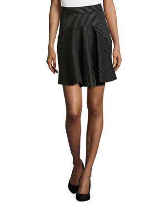 Striped Flounce-Front Pencil Skirt, Black
