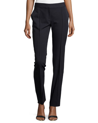Pinstripe Wool-Blend Slim-Fit Pants, Blue