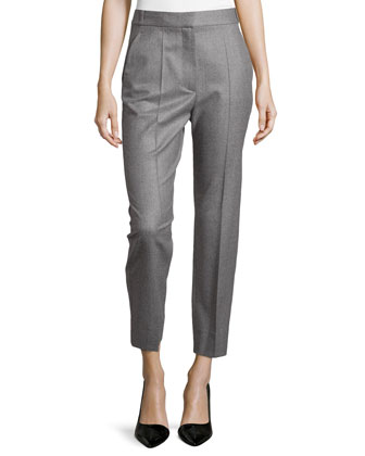 Pinstripe Wool Slim-Fit Ankle Pants, Gray