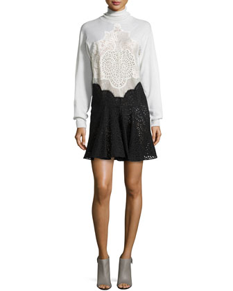 Long-Sleeve Jersey & Lace Combo Dress, Cream/Black