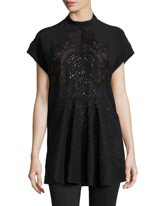 Short-Sleeve Lace-Front Combo Blouse, Black