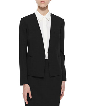 Delaven Open-Front Suit Jacket, Tanelis Sleeveless Silk Blouse & Wool-Crepe ...