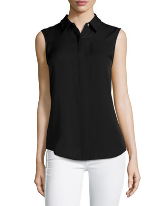 Tanelis Sleeveless Silk Blouse