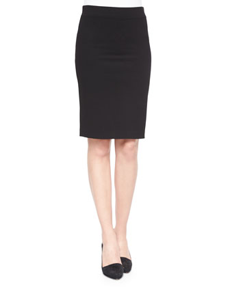 Tenia Long-Sleeve Blouse & Janleen Knit Pencil Skirt