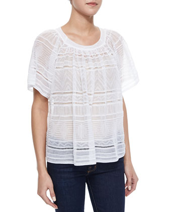 Sheer Flutter-Sleeve Blouse, White