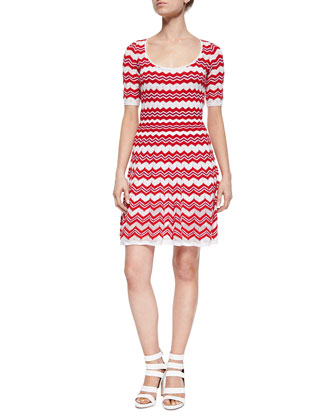 Zigzag-Print Half-Sleeve Dress